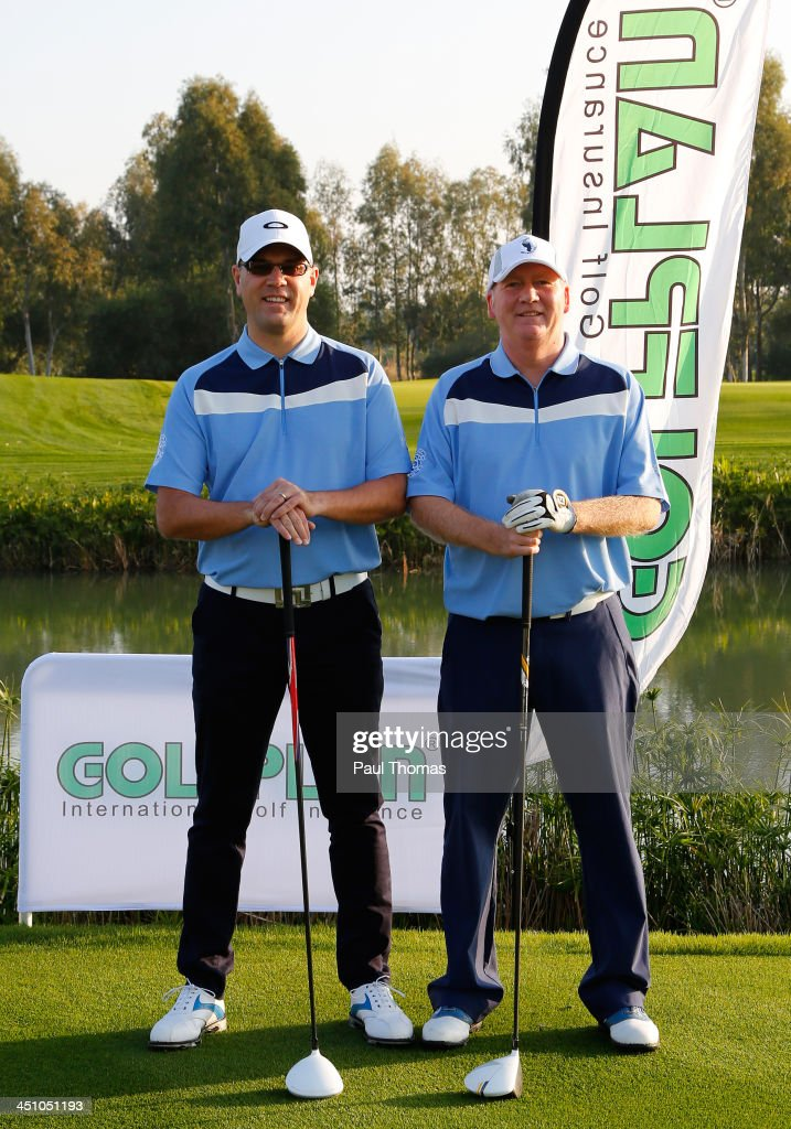 Craig Phillips and Tim Parker (R) of Nuneaton Golf Club pose for a photograph on the PGA Sultan Course during day one of The Golfplan Insurance Pro Captain Challenge final at Antalya Golf Club on November 21, 2013 in Antalya, Turkey.