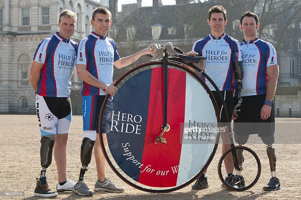 Craig Preece, Andy Grant, Jaco Van Glass and Ben Zissman attend as the Help For Heroes Hero Ride is launched at Horse Guards Parade on March 5, 2013 in London, England.