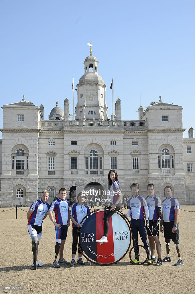 Craig Preece, Andy Grant, Lorraine Kelly, Peta Todd, Jon-Allan Butterworth, Jaco Van Glass and Ben Zissman attend as the Help For Heroes Hero Ride is launched at Horse Guards Parade on March 5, 2013 in London, England.