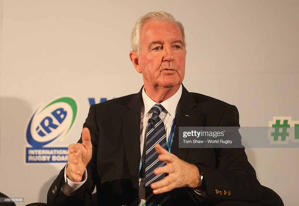 Craig Reedie of WADA talks during the Integrity session during day 2 of the iRB World Rugby Exhibition & Conference at the Hilton Metropole Hotel on November 18, 2014 in London, England.