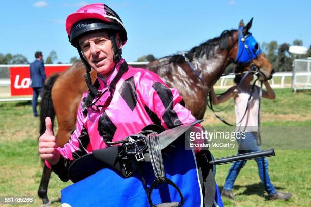 Craig Robertson after winning the Greater Shepparton City Council BM58 Handicap at Tatura Racecourse on October 16 2017 in Tatura Australia