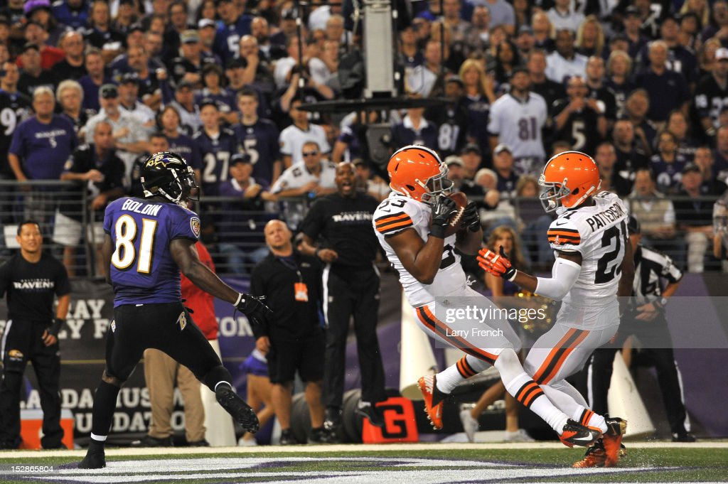 Craig Robertson #53 of the Cleveland Browns intercepts a ball in the end zone against the Baltimore Ravens at M&T Bank Stadium on September 27, 2012 in Baltimore, Maryland. The Ravens led the Browns 9-7 at the half.