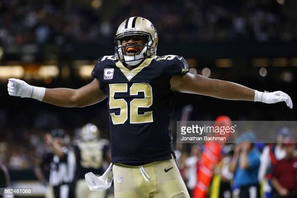 Craig Robertson of the New Orleans Saints celebrates during the second half of a game against the Detroit Lions at the MercedesBenz Superdome on...