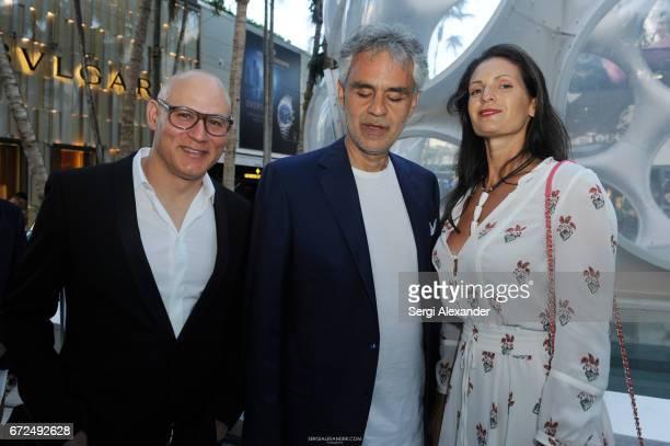 Craig Robins Andrea Bocelli and his wife Veronica Berti attend the Vhernier launch with Andrea Bocelli on April 24 2017 in Miami Florida