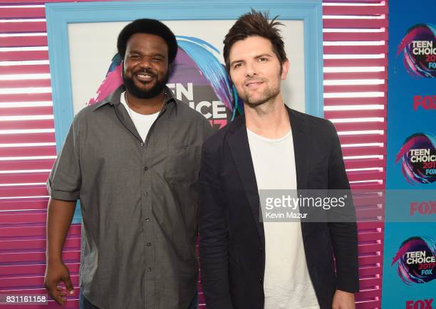 Craig Robinson and Adam Scott attend the Teen Choice Awards 2017 at Galen Center on August 13 2017 in Los Angeles California