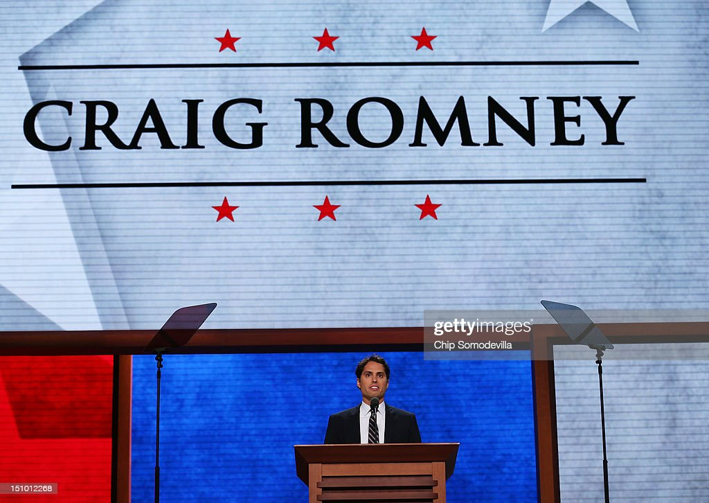 <a gi-track='captionPersonalityLinkClicked' href=/galleries/search?phrase=Craig+Romney&family=editorial&specificpeople=4453864 ng-click='$event.stopPropagation()'>Craig Romney</a> speaks about his father Republican presidential candidate, former Massachusetts Gov. Mitt Romney during the final day of the Republican National Convention at the Tampa Bay Times Forum on August 30, 2012 in Tampa, Florida. Former Massachusetts Gov. Mitt Romney was nominated as the Republican presidential candidate during the RNC which will conclude today.