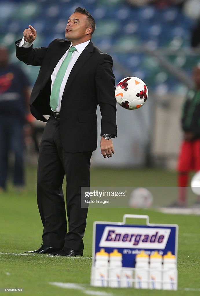 Craig Rosslee Head Coach of AmaZulu during the Nelson Mandela Football Invitational match between AmaZulu and Manchester City at Moses Mabhida Stadium on July 18, 2013 in Durban, South Africa.