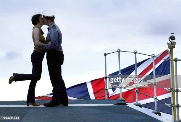Craig Russell Air engineer mechanic says goodbye to girlfriend Sandra Mackie on the HMS Ark Royal as it leaves Rosyth in Fife Scotland The Royal...