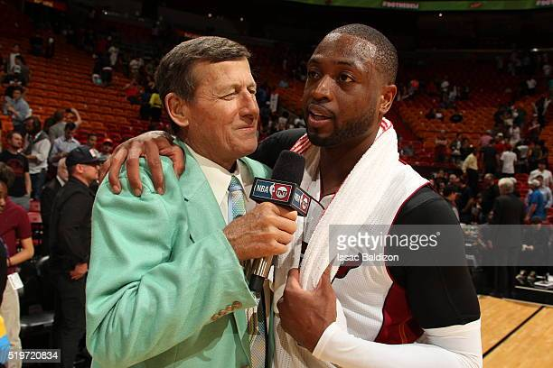 Craig Sager and Dwyane Wade of the Miami Heat are seen after the game against the Chicago Bulls on April 7 2016 at AmericanAirlines Arena in Miami...