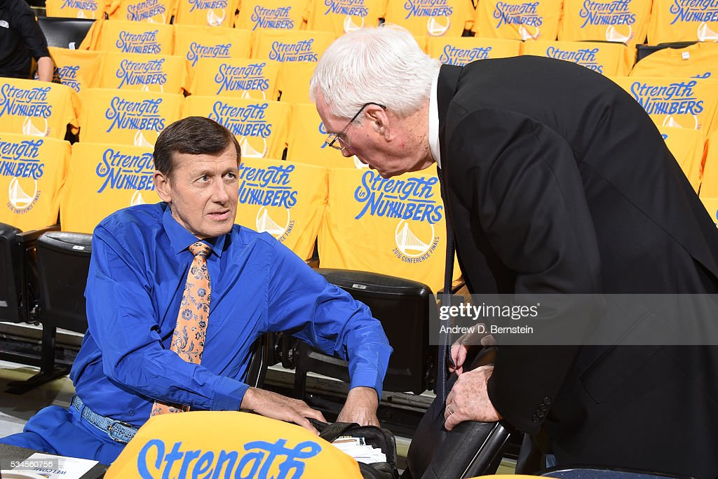 Craig Sager and Hubie Brown talk before the game between the Golden State Warriors and the Oklahoma City Thunder in Game Five of the Western Conference Finals during the 2016 NBA Playoffs on May 26, 2016 at ORACLE Arena in Oakland, California.