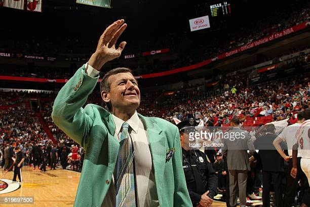 Craig Sager is seen during the game between the Miami Heat and the Chicago Bulls on April 7 2016 at AmericanAirlines Arena in Miami Florida NOTE TO...