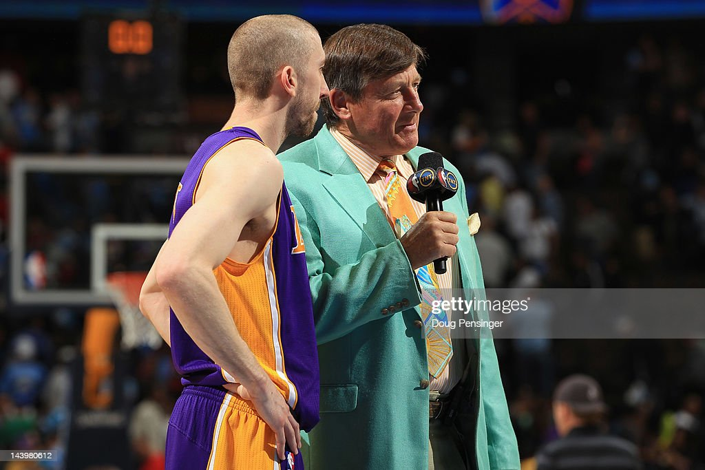 <a gi-track='captionPersonalityLinkClicked' href=/galleries/search?phrase=Craig+Sager&family=editorial&specificpeople=617407 ng-click='$event.stopPropagation()'>Craig Sager</a> of TBS Sports interviews <a gi-track='captionPersonalityLinkClicked' href=/galleries/search?phrase=Steve+Blake&family=editorial&specificpeople=204474 ng-click='$event.stopPropagation()'>Steve Blake</a> #5 of the Los Angeles Lakers after the Lakers defeated the Denver Nuggets in Game Four of the Western Conference Quarterfinals in the 2012 NBA Playoffs at Pepsi Center on May 6, 2012 in Denver, Colorado. The Lakers defeated the Nuggets 92-88 to take a 3-1 lead in the series.