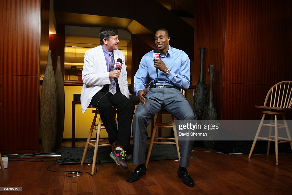 Craig Sager of TNT talks with <a gi-track='captionPersonalityLinkClicked' href=/galleries/search?phrase=Dwight+Howard&family=editorial&specificpeople=201570 ng-click='$event.stopPropagation()'>Dwight Howard</a> #12 of the Orlando Magic during the All Star Media Availability as part of the 2009 NBA All-Star Weekend on February 12, 2009 at the Sheraton Downtown hotel in Phoenix, Arizona.