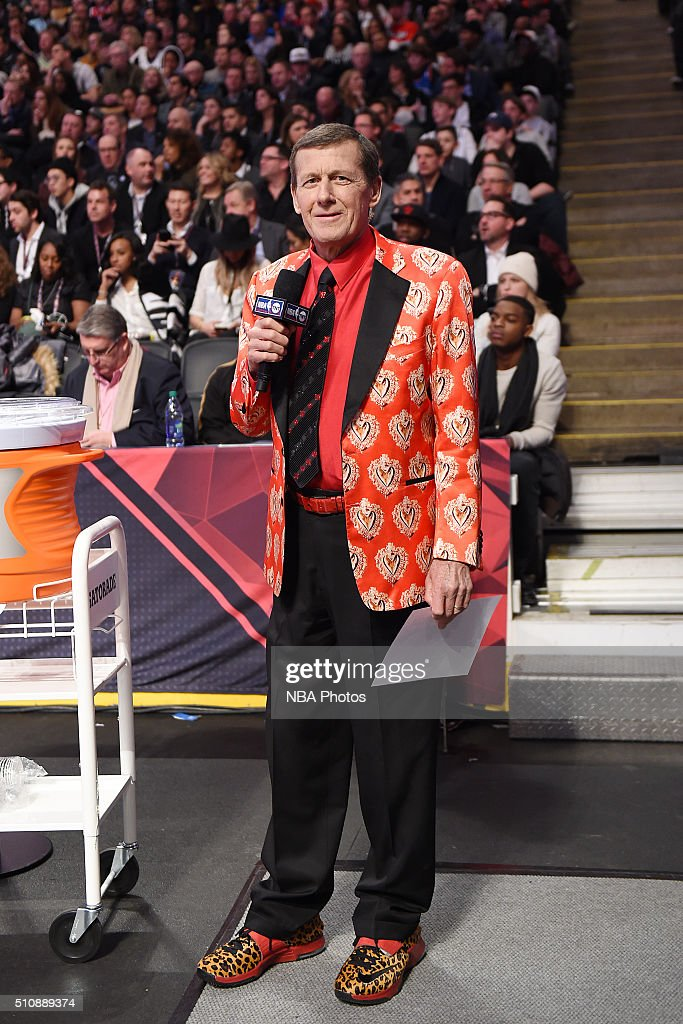 <a gi-track='captionPersonalityLinkClicked' href=/galleries/search?phrase=Craig+Sager&family=editorial&specificpeople=617407 ng-click='$event.stopPropagation()'>Craig Sager</a> stands on the sideline during the game as part of NBA All-Star 2016 on February 14, 2016 at the Air Canada Centre in Toronto, Ontario Canada.