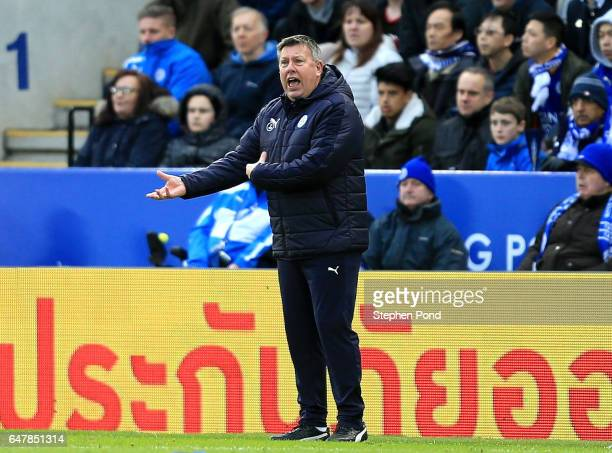 Craig Shakespeare caretaker manager of Leicester City gives his team instructions during the Premier League match between Leicester City and Hull...