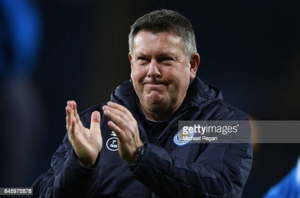 Craig Shakespeare Caretaker Manager of Leicester City watches his side warm up prior to the Premier League match between Leicester City and Liverpool...