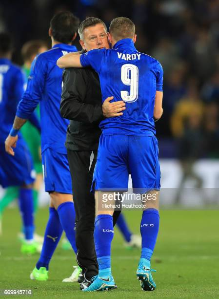 Craig Shakespeare manager of Leicester City and Jamie Vardy of Leicester City embrace after the UEFA Champions League Quarter Final second leg match...
