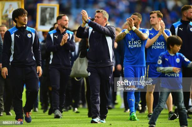 Craig Shakespeare manager of Leicester City applauds the fans at the end of the Premier League match between Leicester City and AFC Bournemouth at...
