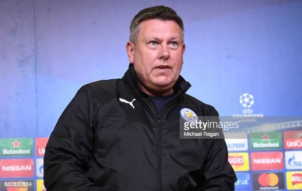 Craig Shakespeare Manager of Leicester City enters a press conference ahead of their UEFA Champions League Round of 16 match against Seville at...