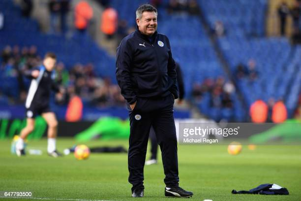 Craig Shakespeare Manager of Leicester City looks on as his players warm up prior to the Premier League match between Leicester City and Hull City at...