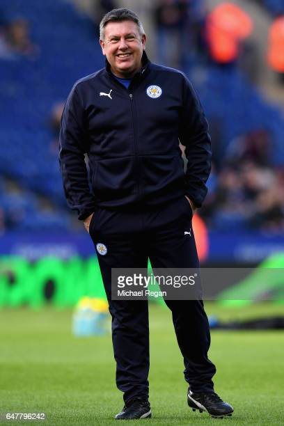 Craig Shakespeare Manager of Leicester City looks on as his team warm up prior to the Premier League match between Leicester City and Hull City at...