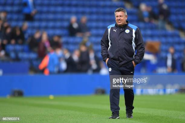 Craig Shakespeare manager of Leicester City looks on as his team warm up prior to the Premier League match between Leicester City and Stoke City at...