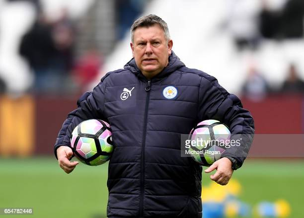 Craig Shakespeare manager of Leicester City looks on during the warm up prior to the Premier League match between West Ham United and Leicester City...