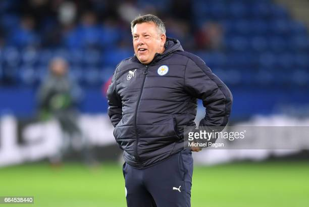 Craig Shakespeare manager of Leicester City looks on during the warm up prior to the Premier League match between Leicester City and Sunderland at...