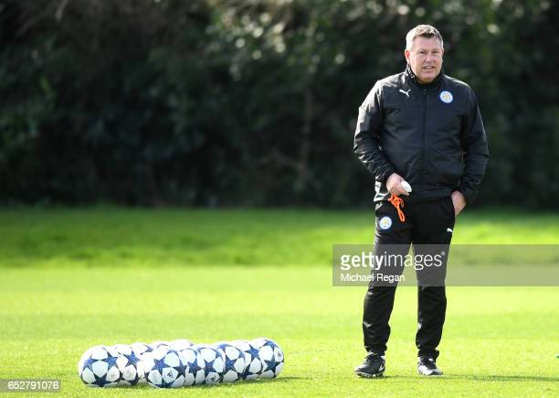 Craig Shakespeare Manager of Leicester City makes his watches the squad train during a Leicester City Training Session ahead of their UEFA Champions...
