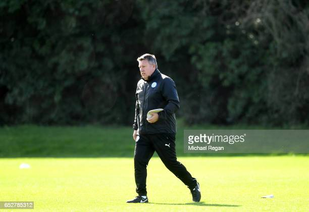 Craig Shakespeare Manager of Leicester City makes his way to training during a Leicester City Training Session ahead of their UEFA Champions League...