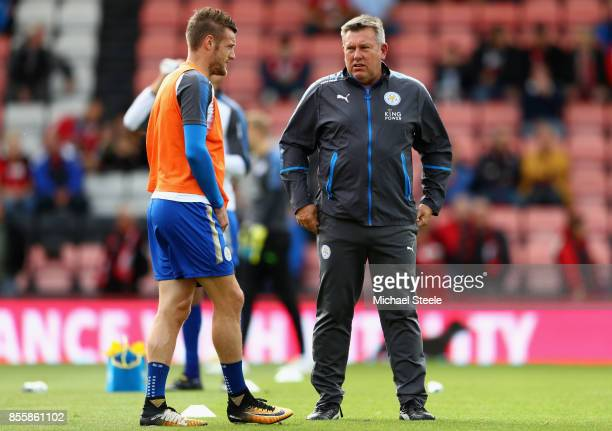 Craig Shakespeare manager of Leicester City speaks to Jamie Vardy of Leicester City during the warm up prior to the Premier League match between AFC...