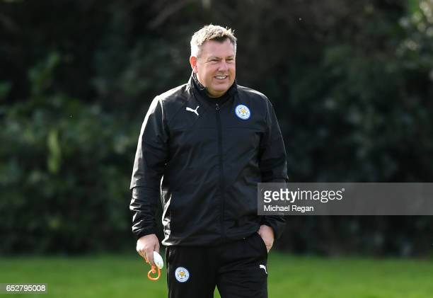 Craig Shakespeare Manager of Leicester City watches the squad train during a Leicester City Training Session ahead of their UEFA Champions League...