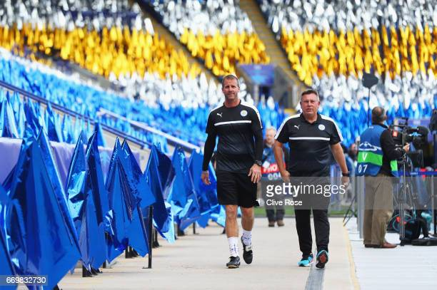 Craig Shakespeare of Leicester City and goalkeeping coach Mike Stowell arrive prior to the UEFA Champions League Quarter Final second leg match...