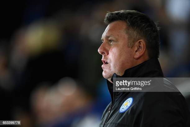 Craig Shakespeare of Leicester City looks on during the UEFA Champions League Round of 16 second leg match between Leicester City and Sevilla FC at...