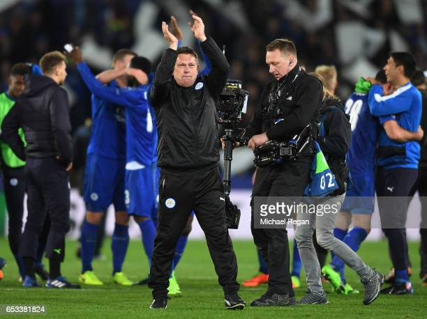 Craig Shakespeare the interim Manager of Leicester City celebrates his team's 32 agg victory following the final whistle during the UEFA Champions...