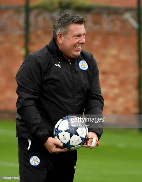 Craig Shakespeare the Leicester City manager during a training session at their Belvoir drive traning centre prior to the Champins League match on...
