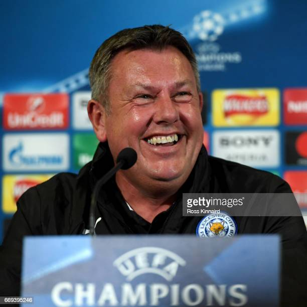 Craig Shakespeare the mamager of Leicester City faces the cameras during a press conference at The King Power Stadium on April 17 2017 in Leicester...