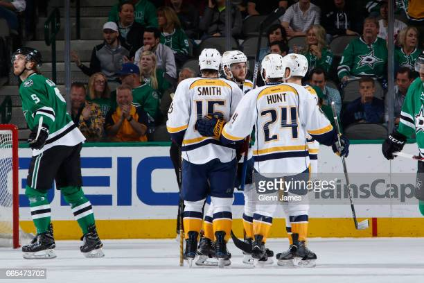 Craig Smith Brad Hunt and the Nashville Predators celebrate a goal against the Dallas Stars at the American Airlines Center on April 6 2017 in Dallas...