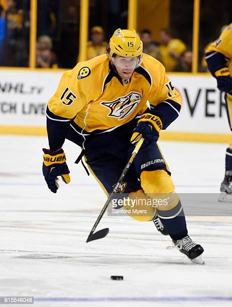 Craig Smith of the Nashville Predators against the Chicago Blackhawks at Bridgestone Arena on October 14 2016 in Nashville Tennessee