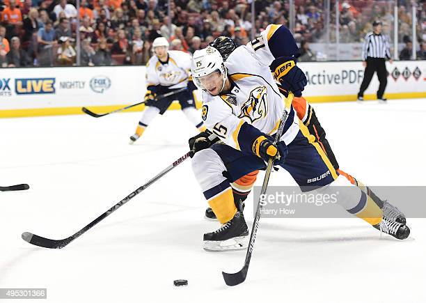 Craig Smith of the Nashville Predators attempts a shot during the second period against the Anaheim Ducks at Honda Center on November 1 2015 in...