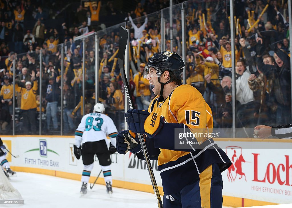 Craig Smith #15 of the Nashville Predators celebrates a goal against the San Jose Sharks during an NHL game at Bridgestone Arena on February 17, 2015 in Nashville, Tennessee.
