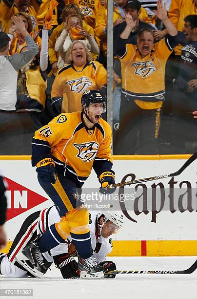 Craig Smith of the Nashville Predators celebrates a goal against the Chicago Blackhawks in the second period of Game Two of the Western Conference...
