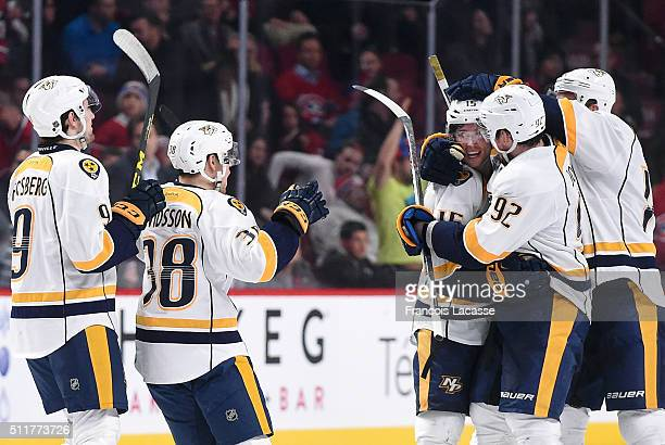 Craig Smith of the Nashville Predators celebrates after scoring the winning goal against the Montreal Canadiens in the NHL game at the Bell Centre on...
