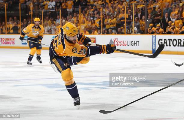 Craig Smith of the Nashville Predators follows through on his shot in the first period of Game Six of the 2017 NHL Stanley Cup Final against the...