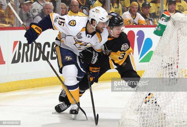 Craig Smith of the Nashville Predators plays against Olli Maatta of the Pittsburgh Penguins during the first period of Game Five of the 2017 NHL...