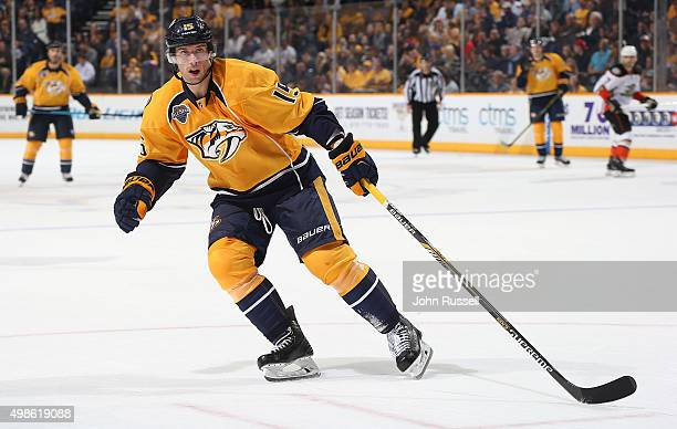 Craig Smith of the Nashville Predators skates against the Anaheim Ducks during an NHL game at Bridgestone Arena on November 17 2015 in Nashville...