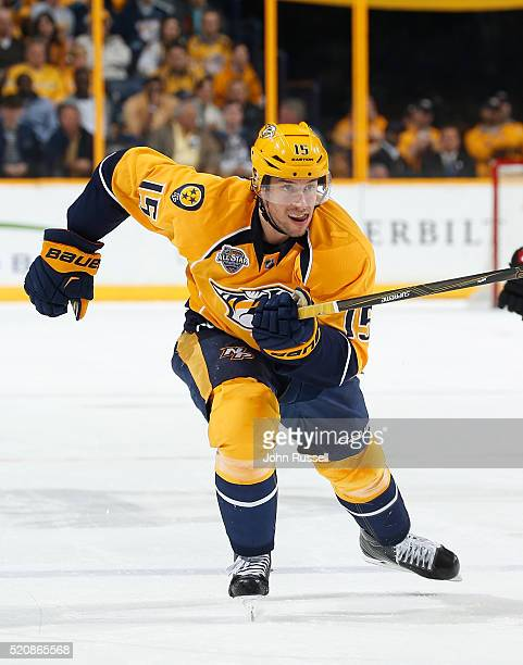 Craig Smith of the Nashville Predators skates against the Arizona Coyotes during an NHL game at Bridgestone Arena on April 7 2016 in Nashville...