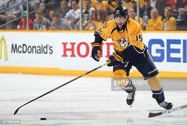 Craig Smith of the Nashville Predators skates against the Chicago Blackhawks in Game Five of the Western Conference Quarterfinals during the 2015 NHL...