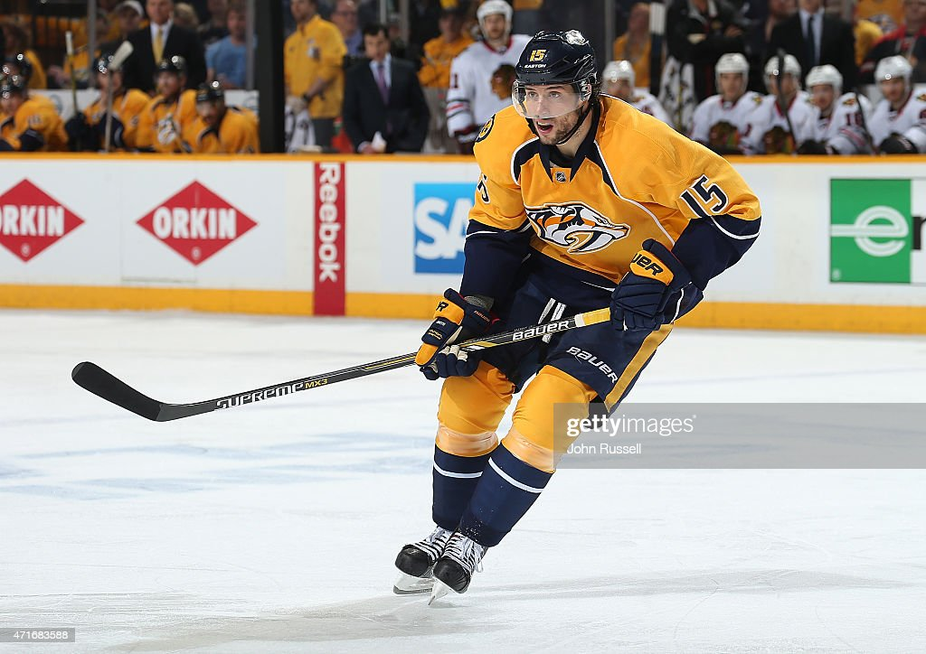 Craig Smith #15 of the Nashville Predators skates against the Chicago Blackhawks in Game Five of the Western Conference Quarterfinals during the 2015 NHL Stanley Cup Playoffs at Bridgestone Arena on April 23, 2015 in Nashville, Tennessee.