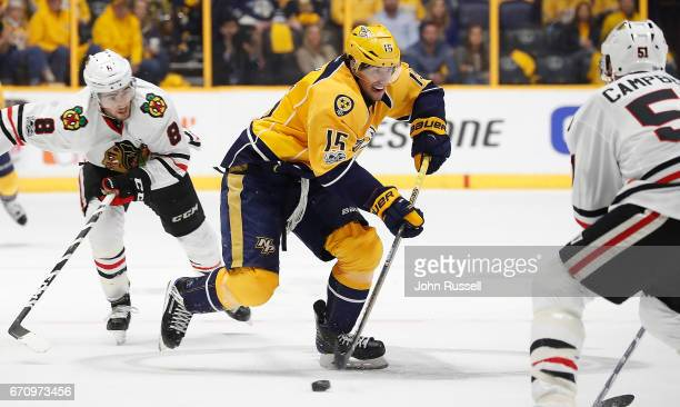 Craig Smith of the Nashville Predators skates against the Chicago Blackhawks in Game Three of the Western Conference First Round during the 2017 NHL...